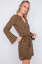 Plaid Checkered Grommet Raw Hem Mini Dress - Creole Couture Boutique