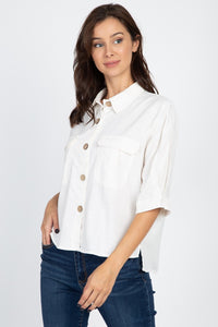 High Low Button Front Shirt - Creole Couture Boutique