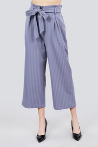 Button Down Paperbag Cullote Stripe Pants - Creole Couture Boutique