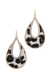 Rhinestone Animal Print Drop Earring - Creole Couture Boutique