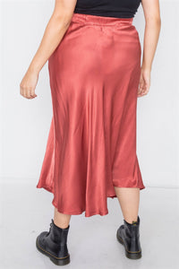 Clay Silk Round Hem Midi Skirt - Creole Couture Boutique