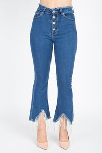Rhinestone Fringed Flare Skinny Jeans - Creole Couture Boutique