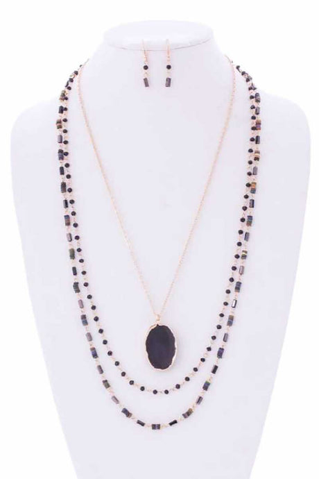 Drusy Stone N Bead 3 Layered Necklace - Creole Couture Boutique