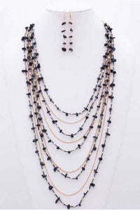 Gem Stone N Bead Multilayered Necklace - Creole Couture Boutique