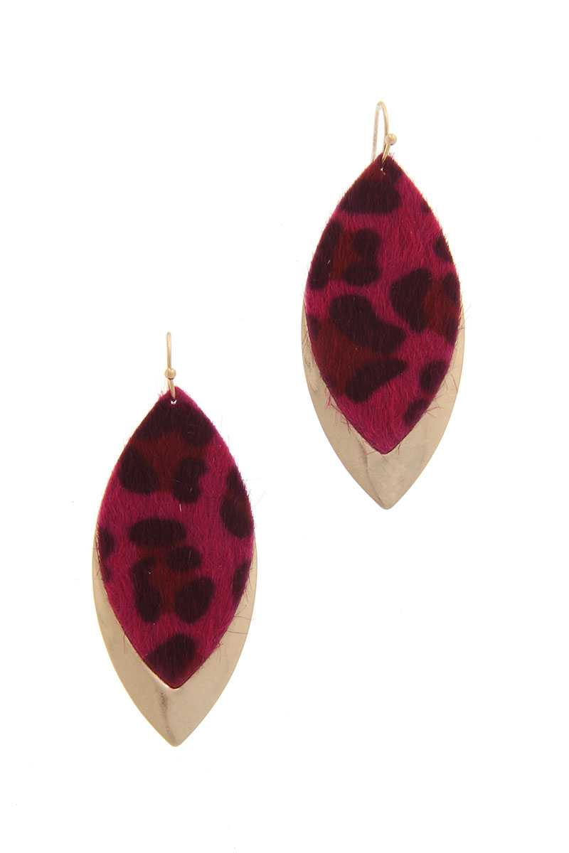 Animal Print Metal Pointed Oval Drop Earring - Creole Couture Boutique