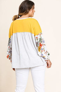 Floral Print Puff Sleeve Round Neck Heathered Top - Creole Couture Boutique