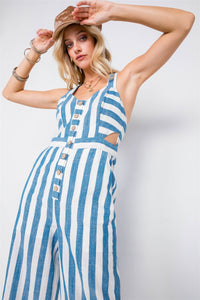 Blue Linen Stripe Button Down Wood Ring Jumpsuit - Creole Couture Boutique