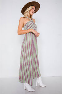 Green Multi Stripe Wooden Center Cut Out Halter Maxi Dress - Creole Couture Boutique