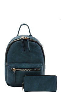 2in1 Fashion Cute Stylish Backpack With Matching Wallet - Creole Couture Boutique
