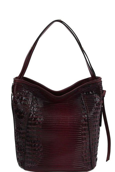 Chillx Fashion Croco Pattern Convertible Bucket Hobo Bag - Creole Couture Boutique