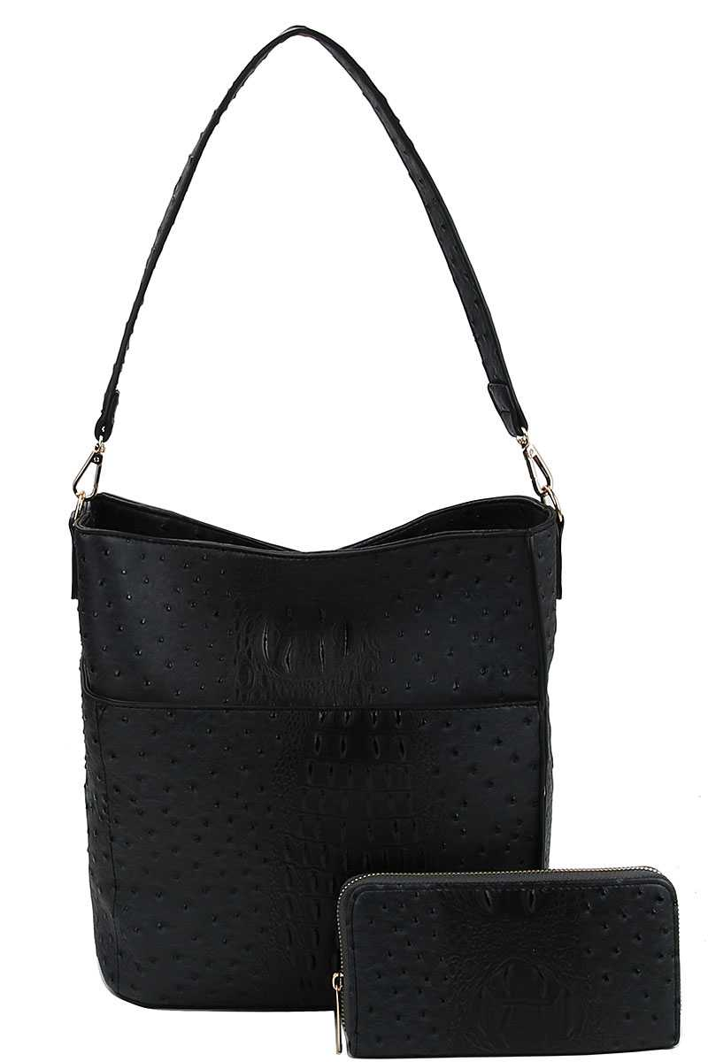 2in1 Modern Croco Pattern Hobo Bag With Matching Wallet - Creole Couture Boutique