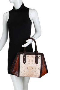 2in1 Two Tone Croco Pattern Satchel With Matching Wallet - Creole Couture Boutique