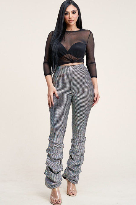 3/4 Sleeve Power Mesh Top And Holographic Stacked Pants - Creole Couture Boutique