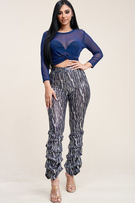 Sequin High Rise Stacked Pant And 3/4 Sleeve Power Mesh Top Two Piece Set - Creole Couture Boutique