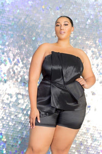 Strapless Peplum Romper - Creole Couture Boutique