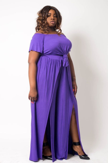 Plus Size Crop Top Pant Set - Creole Couture Boutique