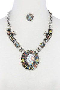 Multi Color Indigenous Pendant Necklace/Earrings - Creole Couture Boutique