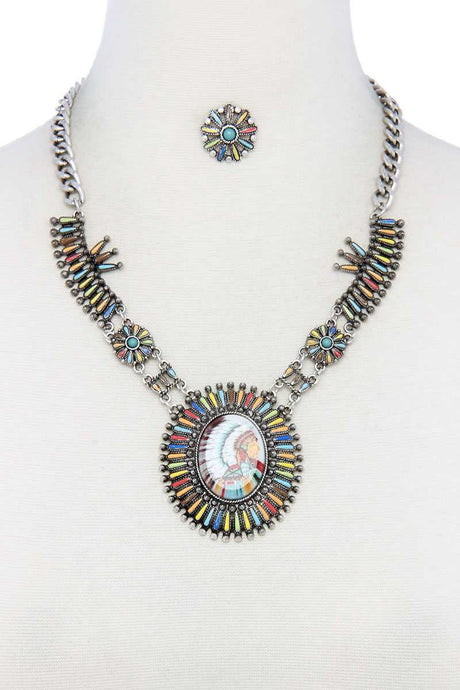 Multi Color Indigenous Pendant Necklace - Creole Couture Boutique