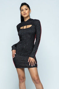 Brushed Hacci Side Piping Detail Hoodie And Tank Top Dress Set - Creole Couture Boutique
