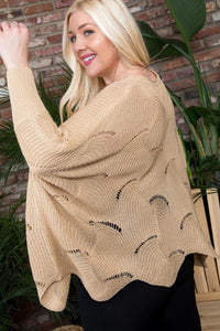 Round Neck Long Batwing Sleeve Scalloped Edge Sweater - Creole Couture Boutique