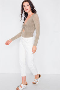 Off White With Brown Stitching Jeans - Creole Couture Boutique