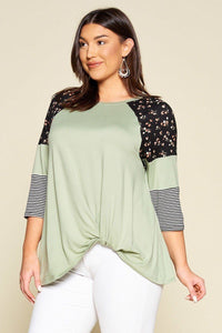 Plus Size Floral And Striped Color Block Sleeves Tunic Top With Side Twist - Creole Couture Boutique