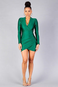 Puff Sleeve Crossover Front Wrap Skirt Dress - Creole Couture Boutique