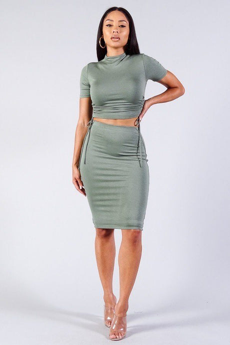 High Neck Short Sleeve Ruched Tee & High-waisted Midi Skirt Set - Creole Couture Boutique
