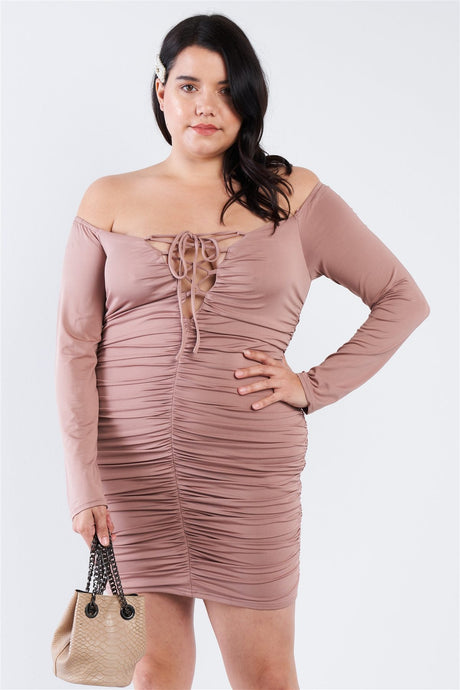 Plus Size Off The Shoulder Lace Up Ruched Mini Dress - Creole Couture Boutique
