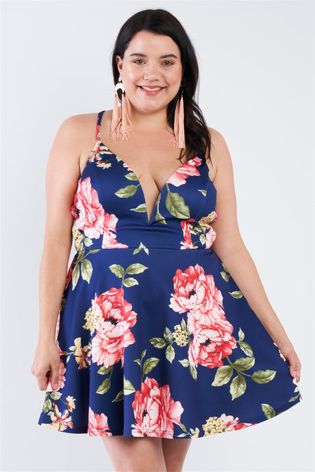 Plus Size Navy Floral Plunging V-neck Open Back Skater Mini Dress - Creole Couture Boutique