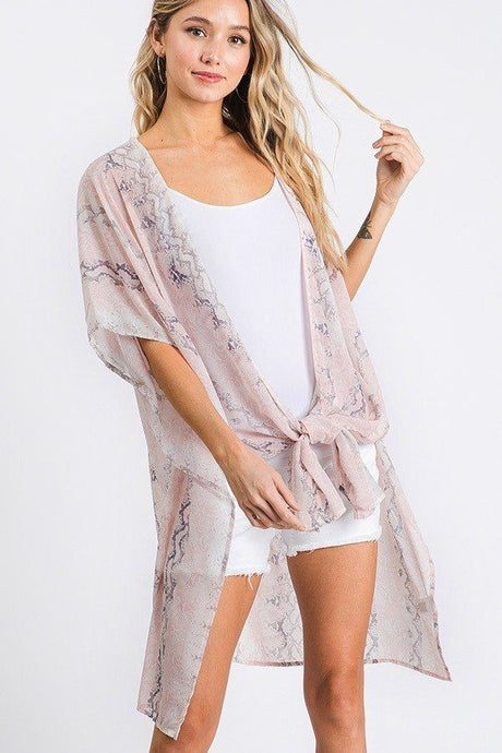 Chiffon Patterned Open Front Kimono - Creole Couture Boutique