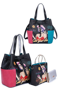 Nikky By Nicole Lee 3in1 Love Your Look Print Satchel Shoulder Bag And Wallet Set - Creole Couture Boutique