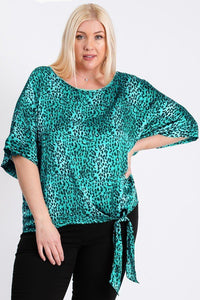 Short Sleeve Side Knot Hemline Leopard Print Woven Top - Creole Couture Boutique