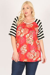 Plus Size Striped Sleeves Flower Print Contrast Tunic Top - Creole Couture Boutique
