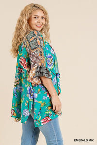 Floral Mixed Print Ruffle Bell Sleeve Open Front Kimono With Side Slits - Creole Couture Boutique