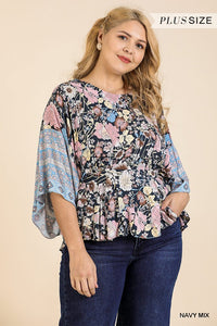 Floral Scarf Mixed Print Kimono Sleeve Round Neck Peplum Hem Top - Creole Couture Boutique