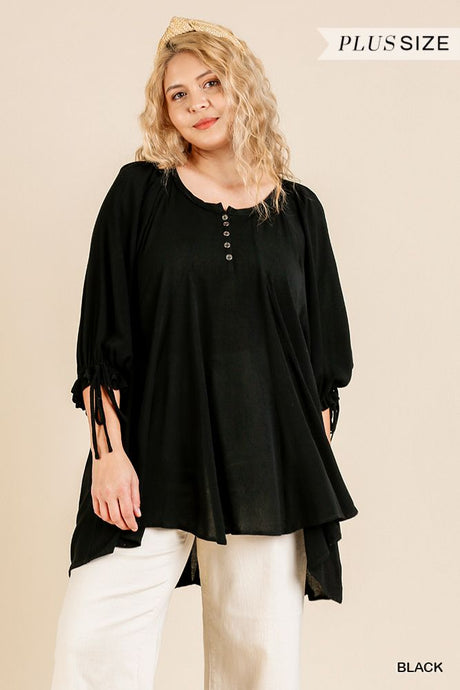 Ruffle Tie Sleeve Button Round Neck Tunic With High Low Hem - Creole Couture Boutique