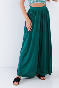 Forest Green Wide Leg Maxi Hipster High Waist Pant - Creole Couture Boutique