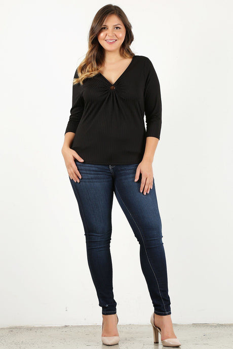 Plus Size 3/4 Sleeve V-neck With Gathered O-ring Detail At Bust - Creole Couture Boutique