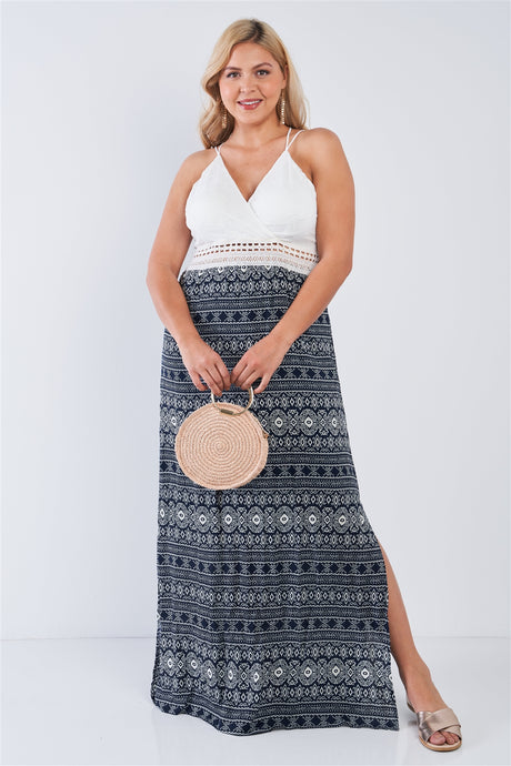 Plus Size Navy V-neck Lace Crochet Detail Criss Cross Back Maxi Dress - Creole Couture Boutique