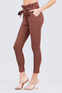 High Waisted Belted Pegged Stretch Pant - Creole Couture Boutique