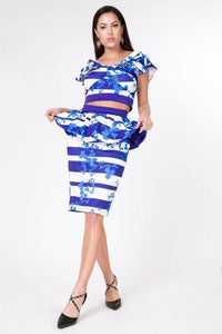Floral Stripe Print Crop Top Skirt Set - Creole Couture Boutique