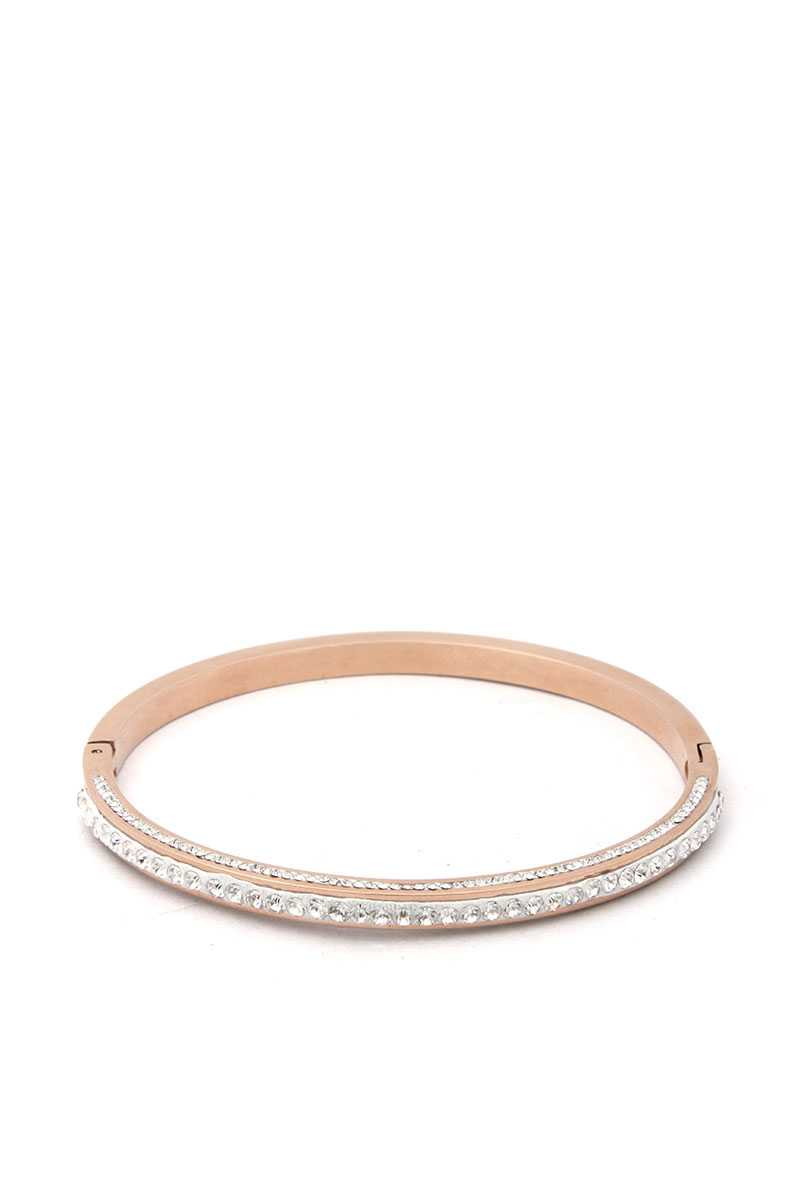 Pave Rhinestone Stainless Steel Bangle - Creole Couture Boutique