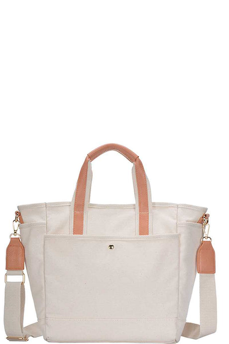2in1 Designer Canvas Fabric Satchel With Long Strap - Creole Couture Boutique