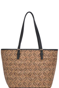 Chic Trendy Cork Textured Fashion Pattern Shopper Bag - Creole Couture Boutique