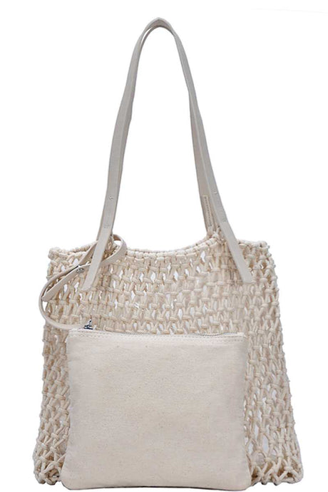 2in1 Modern Chic String Woven Tote Bag - Creole Couture Boutique