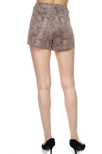Faux Suede Snake Print Mini Shorts - Creole Couture Boutique