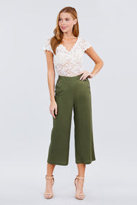 Fake Pocket W/button Detail Wide Long Leg Linen Pants - Creole Couture Boutique