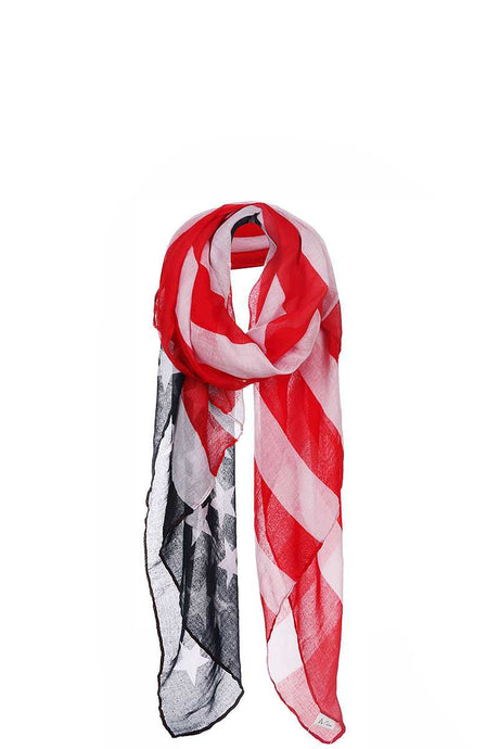Chiffon American Flag Long Scarf - Creole Couture Boutique
