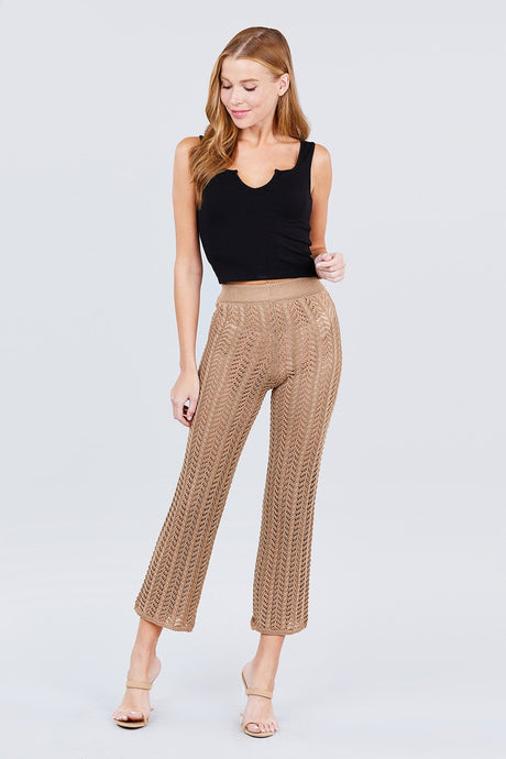 Flare Long Fishnet Sweater Pants - Creole Couture Boutique